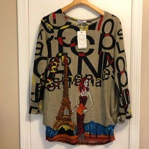Sweaters - Long Sleeve Paris Themed Sweater (NWT)